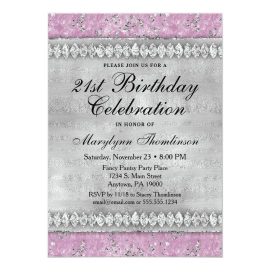 Pink Diamonds Birthday Invitation Velvet Silver