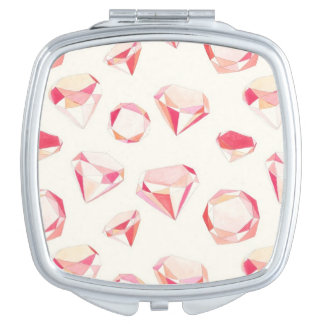 Pink Diamonds Geometric Hand Drawn Mirrors For Makeup