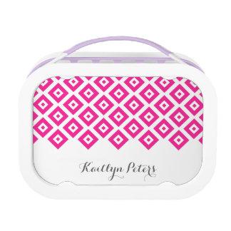 Pink Diamonds Pattern Lunch Boxes