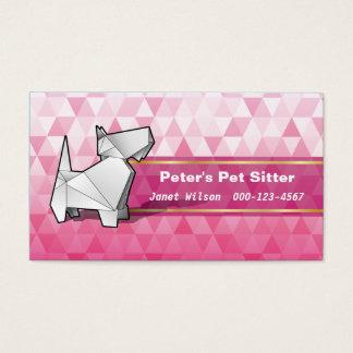 Pink Diamonds Pattern Origami Dog Pet Sitting Business Card
