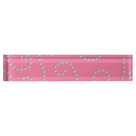 Pink diamonds swirls nameplate