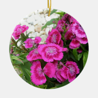 Pink Dianthus/Sweet William Ceramic Ornament