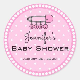 Pink Diaper Pin Thank You Sticker