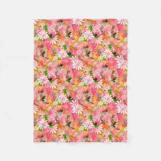 Pink Digital Daisies Fleece Blanket