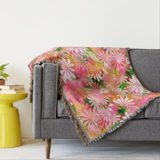 Pink Digital Daisies Throw Blanket
