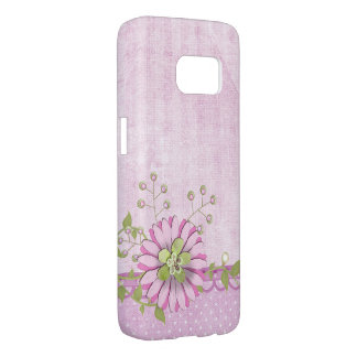 pink digital daisy on polka dot border samsung galaxy s7 case