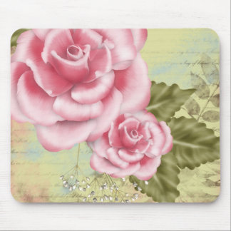 Pink Digital Roses Mouse Pad