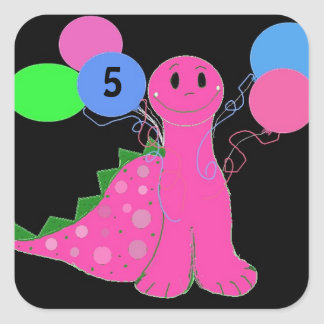 Pink Dinosaur Birthday Customizable Age Square Sticker