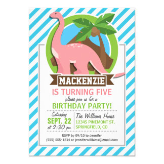 "Pink Dinosaur; Blue & White Stripes 5"" X 7"" Invitation Card"