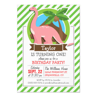 Pink Dinosaur, Dino; Green & White Stripes Customized Announcement Card