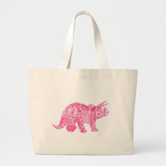 Pink dinosaur for jurassic park and ancient world large tote bag