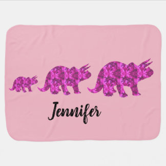 Pink Dinosaur Personalized Baby Blanket for Girl