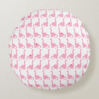 Pink Dinosaur Round Pillow