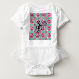 Pink Dinosaur Skull Geometric Pattern Baby Bodysuit