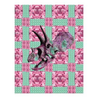 Pink Dinosaur Skull Geometric Pattern Letterhead