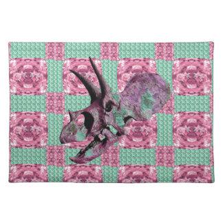 Pink Dinosaur Skull Geometric Pattern Placemat