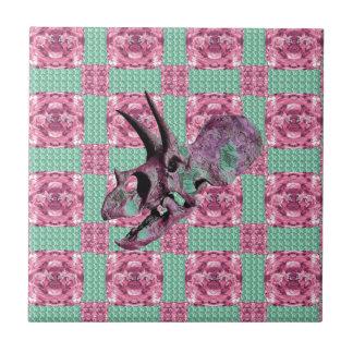 Pink Dinosaur Skull Geometric Pattern Tile