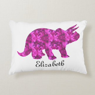 Pink Dinosaur Triceratops Pillow to Personalize