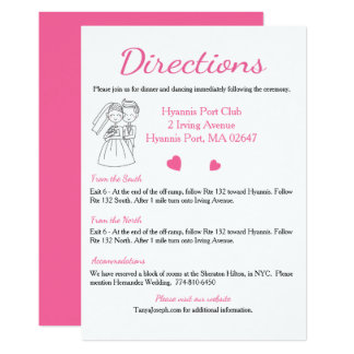 Pink Directions / Details Wedding, Bride And Groom Card