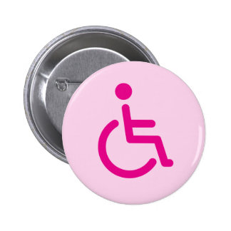 Pink disabled symbol or handicap sign for girls 2 inch round button