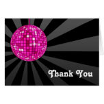 Pink Disco Ball Thank You Note Greeting Card