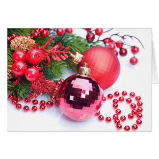 Pink Disco Ball Xmas Ornament Card