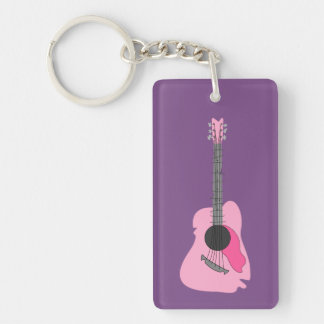 Pink Distorted Abstract Acoustic Guitar Keychain