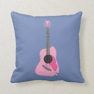 Pink Distorted Abstract Acoustic Guitar Throw Pillow