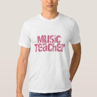 Pink Distress Text Music Teacher Tees