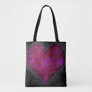 Pink Distressed Abstract Heart Tote Bag