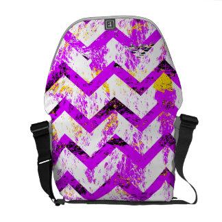 Pink Distressed Chevron Messenger Bags