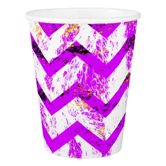 Pink Distressed Chevron Paper Cup