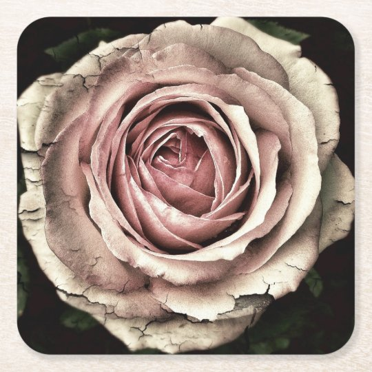 Pink Distressed Rose - Paper Coaster