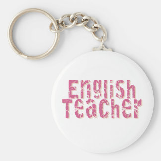 Pink Distressed Text English Teacher Keychain