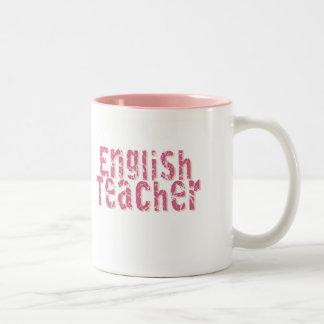 Pink Distressed Text English Teacher Coffee Mugs
