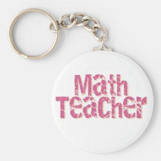 Pink Distressed Text Math Teacher Basic Round Button Keychain