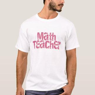 Pink Distressed Text Math Teacher T-Shirt