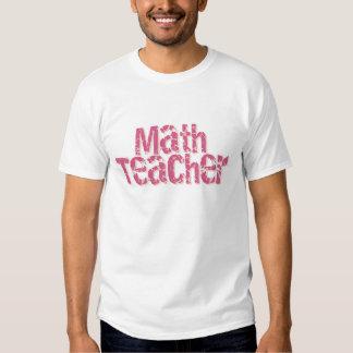 Pink Distressed Text Math Teacher Tshirt