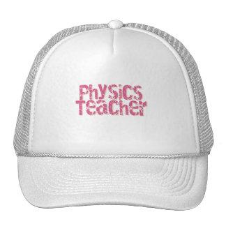 Pink Distressed Text Physics Teacher Mesh Hats