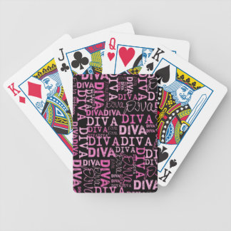 Pink, diva, black text bicycle playing cards
