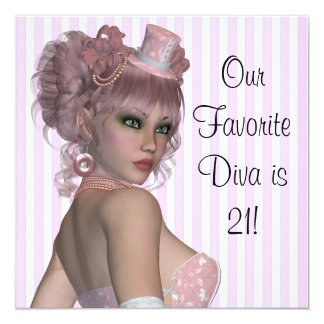 Pink Diva Womans 21st Birthday Party Card