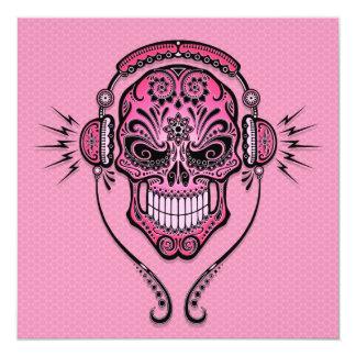 """Pink DJ Sugar Skull 5.25"""" Square Invitation Card"""