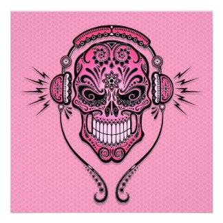 Pink DJ Sugar Skull Invite