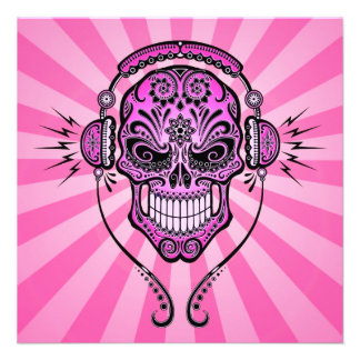 Pink DJ Sugar Skull with Rays of Light Personalized Invite