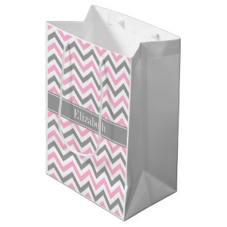 Pink Dk Gray White LG Chevron Gray Name Monogram Medium Gift Bag