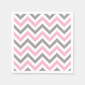 Pink, Dk Gray Wht Large Chevron ZigZag Pattern Disposable Napkins