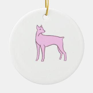 Pink Doberman Pinscher Ornament
