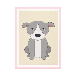 PINK DOG,  ADORABLE BROWN PUPPY CANVAS PRINT