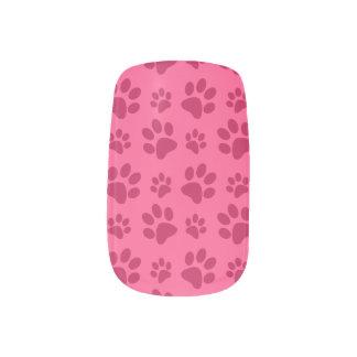 Pink dog paw print minx nail art