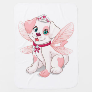 Pink dog sitting baby blanket